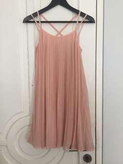 Pink pleated criss cross dress