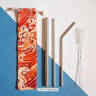 🚚 Stainless Steel Straw Set in Red Drawstring Pouch