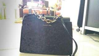 Charles & Keith Chain Suede Handle