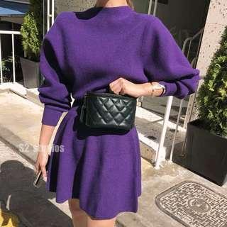 🚚 韓版針織收腰紫色洋裝
