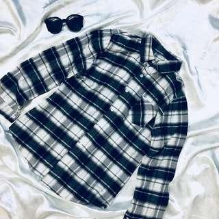 Korean Checkered BF Blouse