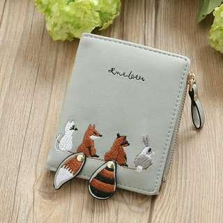 Korean style short wallet w/ cute embroidered animals