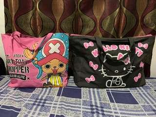 100% original onepiece and hello kitty big travel bag from japan bundle