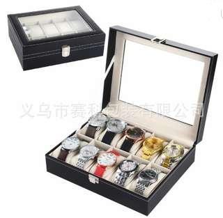 Luxury watch boxes(10 slots )black PVC/watch boxes/watch storage box