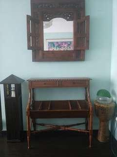 wooden mirror, table console,bali lamp stand