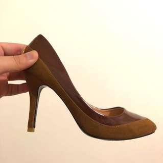 ❤️降❤️原價$1180 復古 拼接 撞色 氣質 高跟鞋