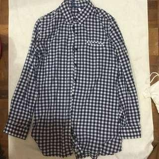 navy blue and white checkered longsleeve polo