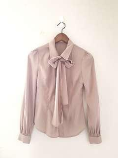 Love bonito pussy bow blouse in taupe
