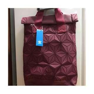 Unisex Adidas x Issey Miyake 3D Roll Top Backpack In Maroon Red Instock