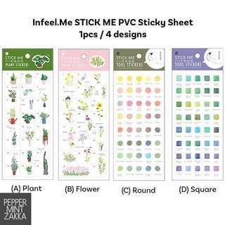 Infeel.Me STICK ME PVC Transparent Sticky Sheet 1pcs / 4 designs