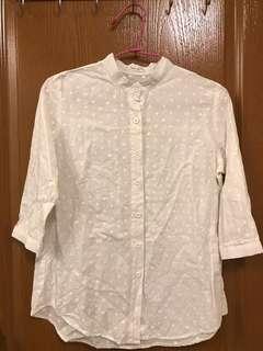 🚚 白色點點 七分袖襯衫