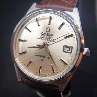 OMEGA CONSTELLATION 星座系列 168.015 CHRONOMETER OFFICIALLY CERTIFIED QUICK SET CALENDAR STAINLESS STEEL cal. 564 AUTOMATIC WATCH CIRCA 1968。unishell case 一體式錶身極少有