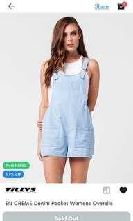 TILLYS SOFT DENIM OVERALL JUMPSUIT / SHORT JUMPER