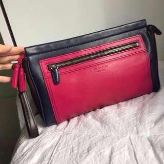 Coach Legacy Clutch with Tassels in Multi Colours (fuchsia, navy blue, dark brown)