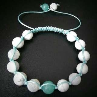 🚚 Amazonite Howlite Shamballa Bracelet, Women Healing Bracelet, Gift For Her, White Adjustable Bracelet