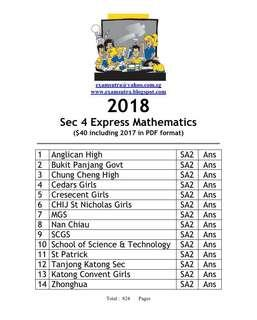 🚚 Sec 4 2018 Math Exam Papers (softcopy)
