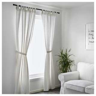 LENDA 白色窗簾附布腰 2件裝(僅一年/可代清洗)