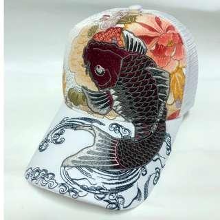 🚚 日本RIPPLE浮世繪 鯉魚3D刺繡棒球網帽