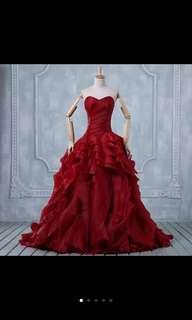 紅色婚嫁晚裝裙