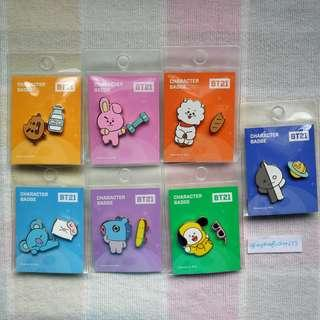 <CLEARANCE STOCK> BT21 OFFICIAL CHARACTER BADGE SET #BT21 #LINEFRIENDS #READYSTOCK