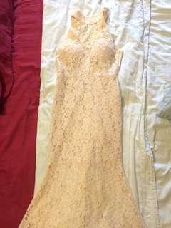 Pink Lace Round Neck Dress
