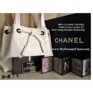 100% CHANEL White Caviar Draw String Bucket Shoulder Bag