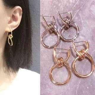 🚚 現貨歐美個性金屬風圓環纏繞耳圈耳環/2色