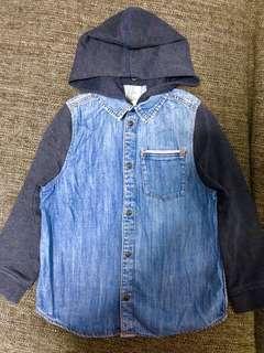 Denim Shirt with Detachable Hoodie (Size 6-7/116cm)