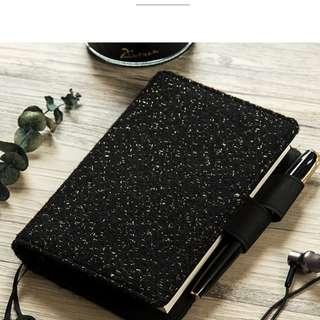 2019 Midori Wool Silver Glittery Star Black Planner Note Book Notebooks Notebook