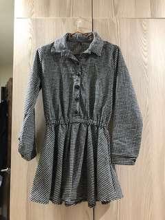 🚚 超甜美~千鳥紋縮腰長袖洋裝