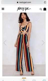 Nastygal Stripe Jumpsuit Co-ord Set