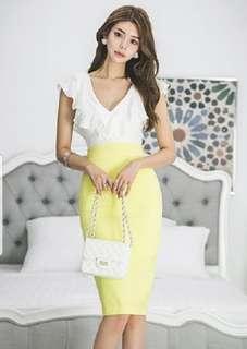 V Cut Slim Dress