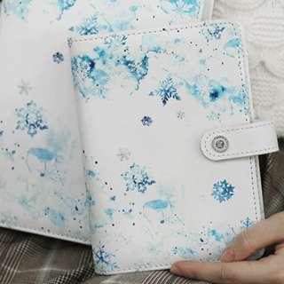 2019 Snow Flake Blue / Sakura Pink Faux Leather Planner Note Book Notebooks Notebook A6