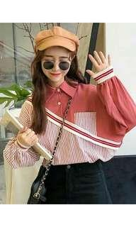 Pink blouse with stripes
