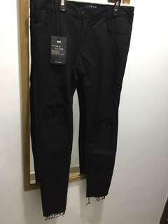 Korea jeans 彈性料 韓國黑色牛仔褲