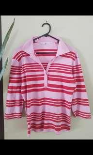 Tommy Hillfiger Top - Hot and Light Pink Three Quater Sleeve Top XL