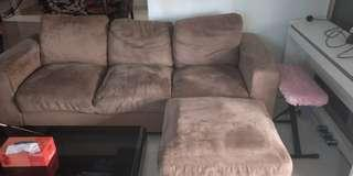 Very Cheap 3 Seater Brown Suede Sofa with ottoman