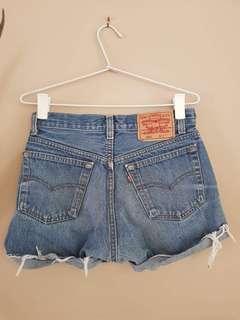 Levis High Waisted Denim Cuffed Shorts - Blue