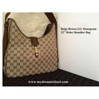 "100% Classic Authentic GUCCI Beige Brown GG Monogram 12"" Hobo Shoulder Bag"