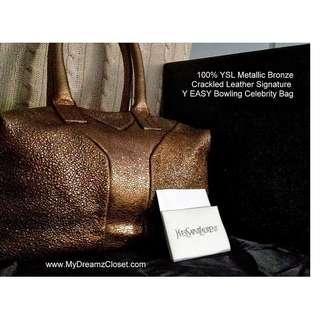100% YSL Metallic Bronze Leather Signature Y EASY Kylie Minogue Celebrity Bag