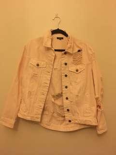 Torn denim jacket, millennium pink