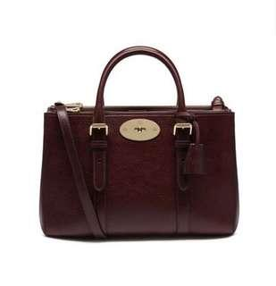 Mulberry Bayswater double zip tote (Oxblood, small)