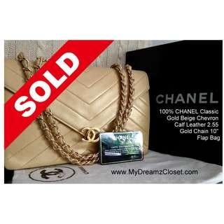 "SOLD - 100% CHANEL Classic Gold Beige Chevron Calf Leather 2.55 Gold Chain 10"" Flap Bag"