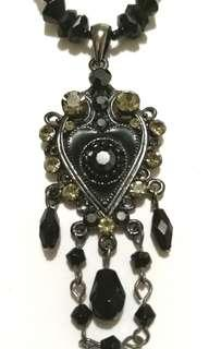 Gothic Heart Pendant and Beaded Necklace