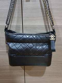 Chanel gabrielle black medium hobo sling bag