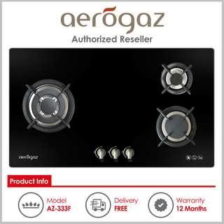 Aerogaz ( AZ-333F ) 3 Burner Built-In Gas Hob with Tempered Glass Top