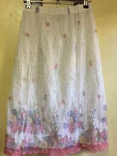 Spring Flowers Long Mesh Skirt