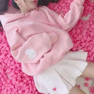 🚚 超可愛寬鬆粉色手肘愛心抽繩連帽長袖上衣帽T
