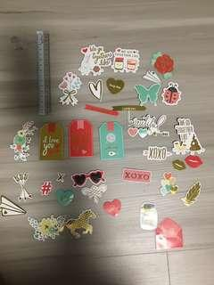 35 Die Cut Cardstock Stickers