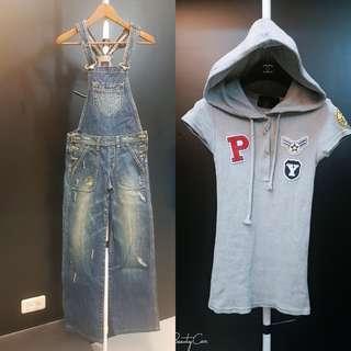 🚚 Lee牛仔連身褲+歐美棉T